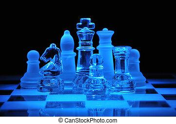 Glass chess figures