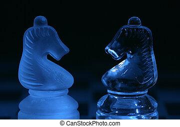Glass chess knights
