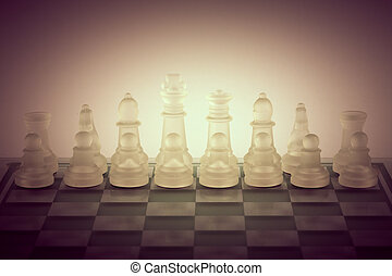 Glass chessclose up background - Glass chess concept ...