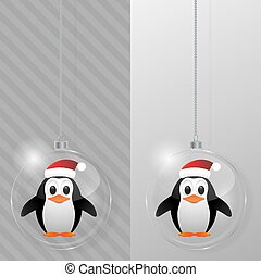 Glass Christmas ball with penguin. Design template.