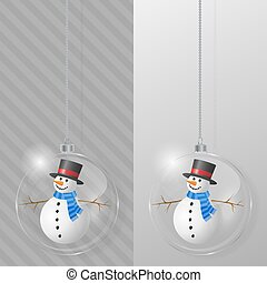 Glass Christmas ball with snowman. Design template.