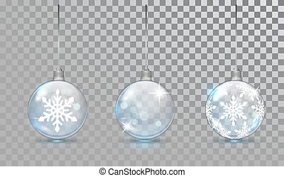 Glass Christmas balls set with snowflake pattern on a transparent background. New Year bauble for design. Christmas festive decoration objects. Xmas isolated shine decor.