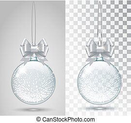 Glass Christmas toy on a transparent background.