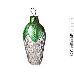 Glass Christmas tree decoration toy in the form of pine cone isolated on white background