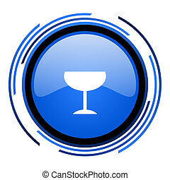 glass circle blue glossy icon