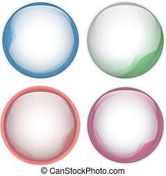 Glass Circle Button Colorful Acqua