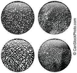 Glass Circle Buttons Grunge Textures - Vector - Glass Circle...