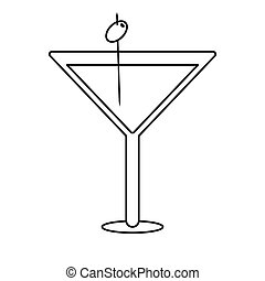 glass cocktail martini with olive outline
