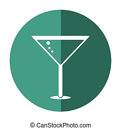 glass cocktail martini with olive shadow