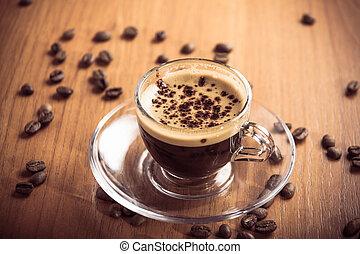 glass coffee cup crema