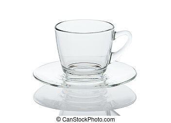 Glass coffee cup isolated on white background