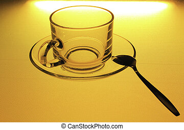 Glass coffee cup with spoon