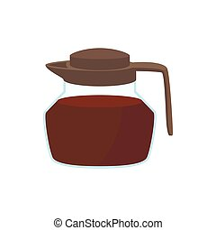 Glass coffee pot icon, cartoon style