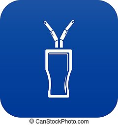Glass cola icon blue vector
