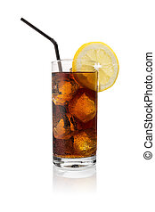 glass cola (softdrink) with ice - A glass of cola with ice...