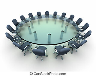 Glass conference table with busines