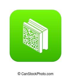 Glass construction block icon green