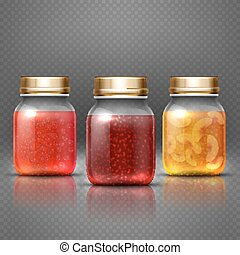 Glass container food jar with natural fruit preserves jelly jam vector. Natural fruit jam, illustration of sweet homemade jam
