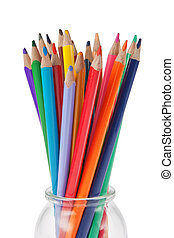 Glass container for crayons on a white background.