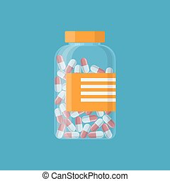 Glass container with medical pills capsules.