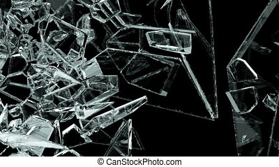 Glass crack and shatter with slow motion. Alpha, 3d render, 3d animation