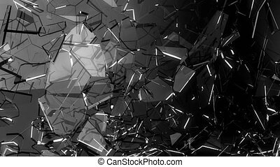 Glass crack and shatter with slow motion. Alpha, 3d render,...