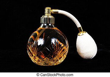 Glass crystal perfume bottle. - Cut glass perfume atomiser...