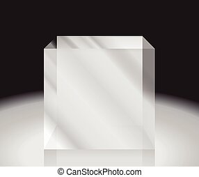 glass cube. Abstract 3d illustration. Editable vector.