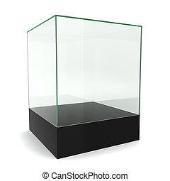 Glass cube on pedestal. 3d illustration on white background