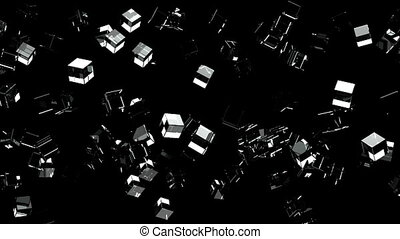 Glass cubes abstract on black background