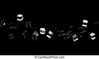 Glass cubes abstract on black background. Loop able 3DCG...