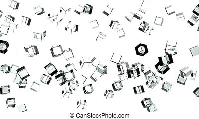 Glass cubes abstract on white background