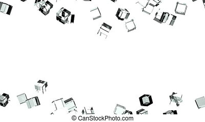 Glass cubes abstract on white background. Loop able 3DCG...