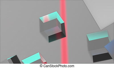 Glass cubes in multicolored 3D animation