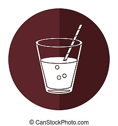 glass cup fresh drink with straw - round icon