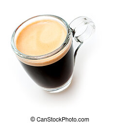 Glass Cup of Espresso Coffee on White Background - Shallow Depth of Field