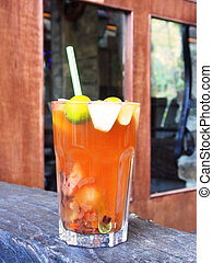 Glass cup of fruit tea