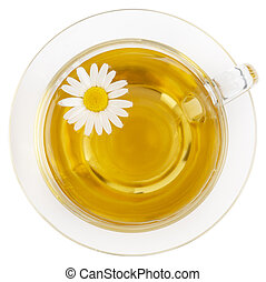 Glass cup of healthy chamomile herbal tea isolated on white.