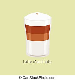 Glass Cup of Layered Latte Macchiato Flat Vector - Glass cup...