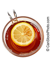 Glass cup of tea with lemon