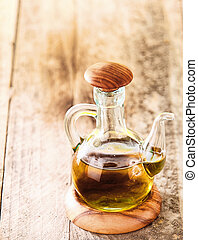 Glass decanter with olive oil