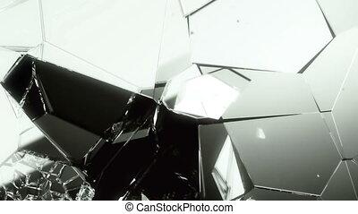 Glass demolished and broken slow motion . Alpha matte
