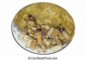 glass dish decorated with corks