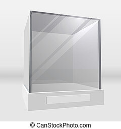 Glass display cabinet - Empty exhibition or museum glass...