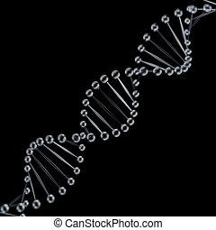 Glass DNA spiral 3D render on black background.