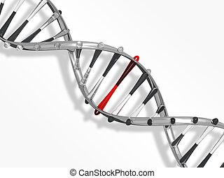 Glass DNA strand on white background