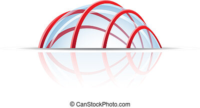 Glass dome with red lines isolated on white