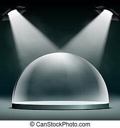 Glass dome floodlit for presentations, exhibitions and protectio