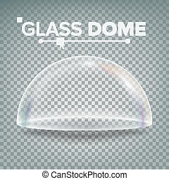 Glass Dome Vector. Exhibition Design Element. Half-Sphere Lid. Empty Glass Crystal Dome. Realistic 3D Isolated On Transparent Background Illustration