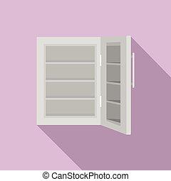 Glass door fridge icon, flat style